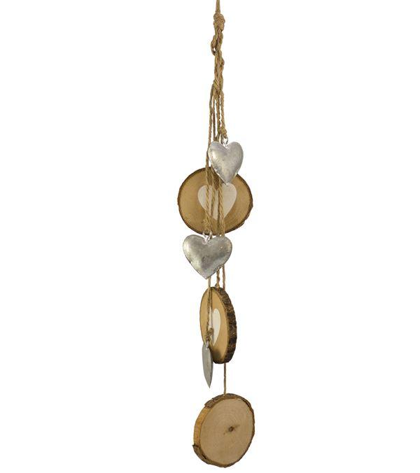 Wood Heart Hanger - 42cm Long - Per 2 - Natural (16327)