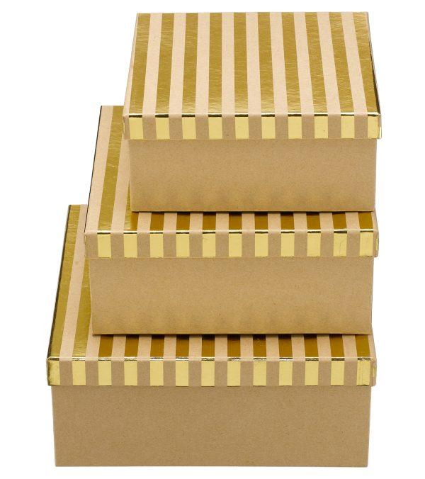 Square Kraft Boxes - Stripes