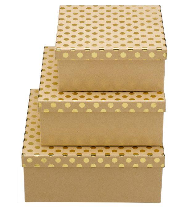 Square Kraft Boxes - Spots
