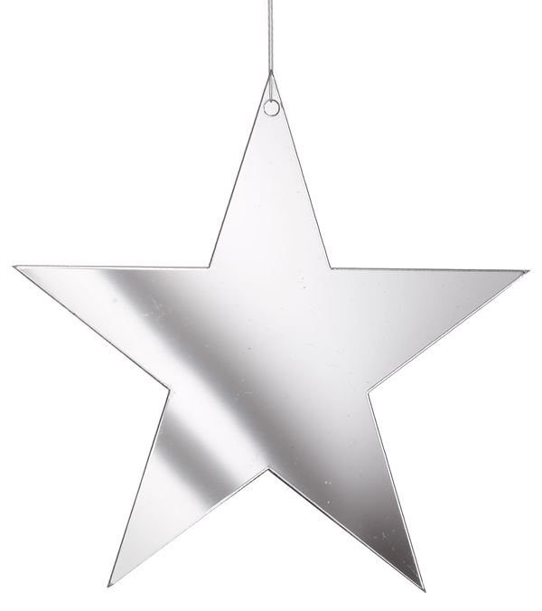 Mirror Stars - 6cm Wide - Pack of 12 - Silver