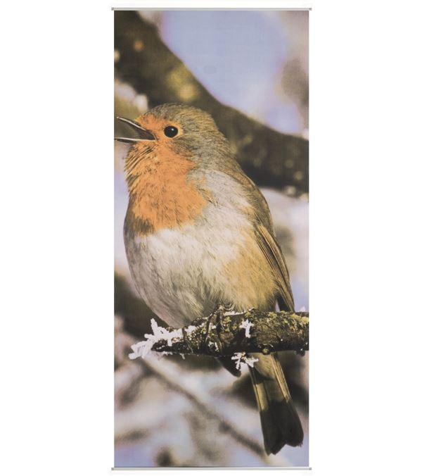 Bird Textile Poster - 180cm Long X 75cm Wide - Red - Sold Individually