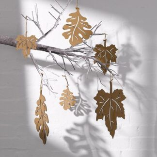 Corrugated Oak Leaves - Set of 3 - Brown