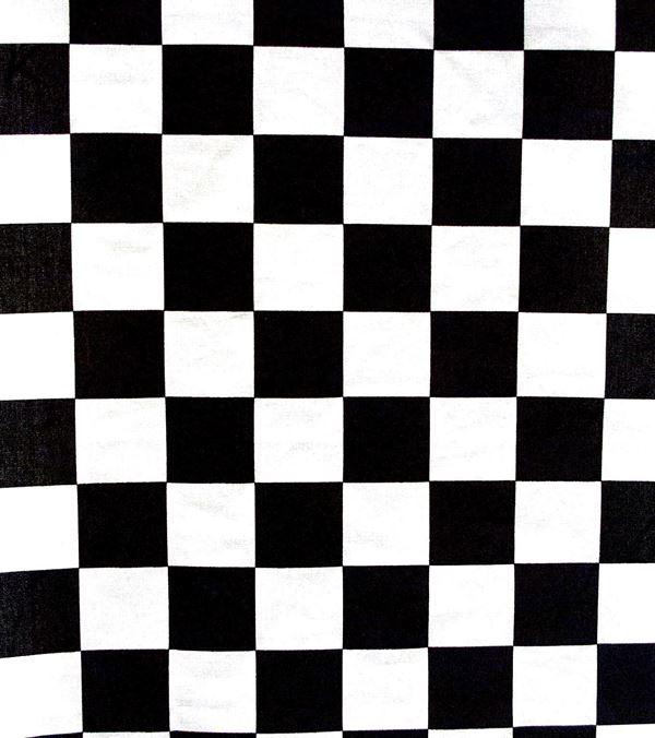 Chess Cotton Fabric Black and White 150cm - 150cm - Black and White - Per Linear Metre