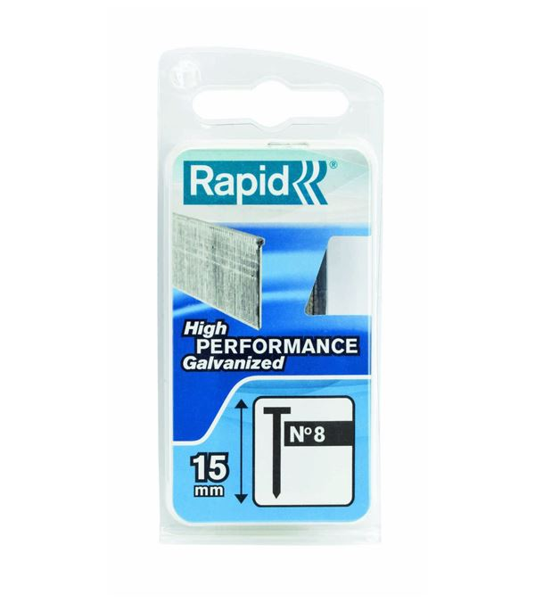 Rapid No 8 Brads - 15mm - Pack of 1000 - Silver
