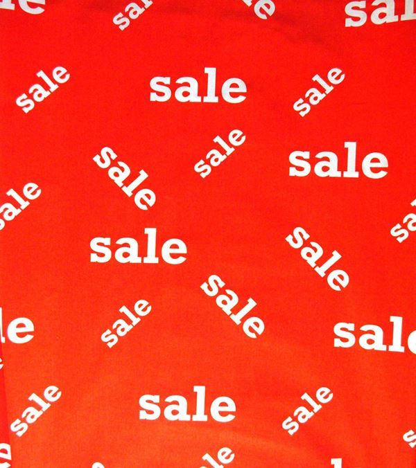 Sale Fabric - 150cm - Red and White - Per Linear Metre