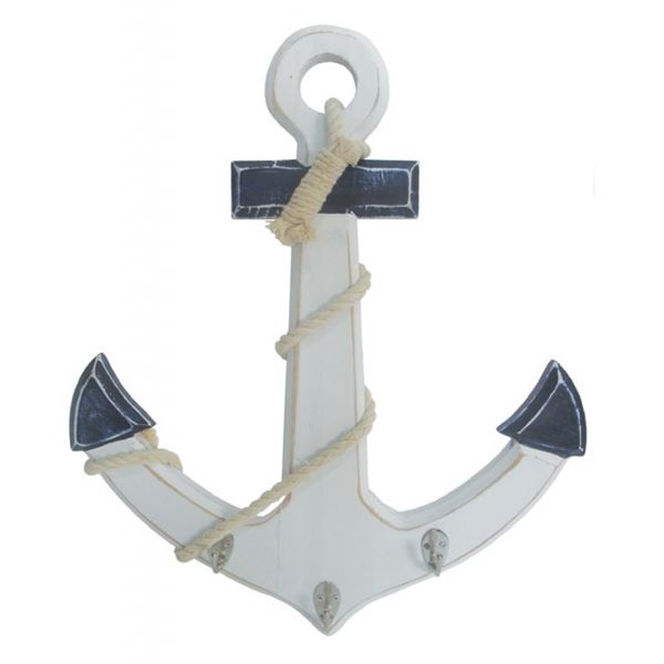 Wooden Anchor - 38cm X 4cm X 45cm - White/Blue With Rope Trimming