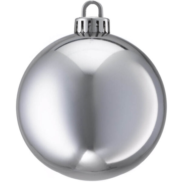 250mm shiny silver Christmas bauble