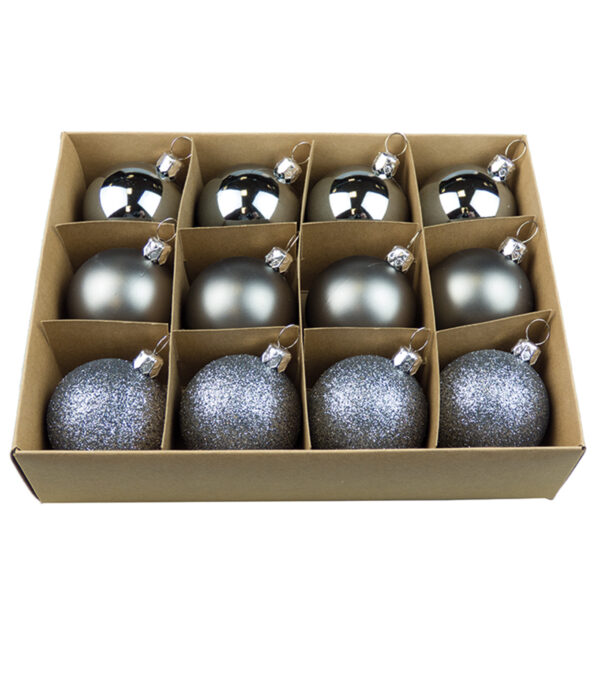 Boxes of 12 Mixed Finish Baubles - 48mm
