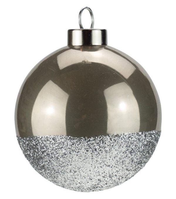 Silver Glitter Baubles - 80mm