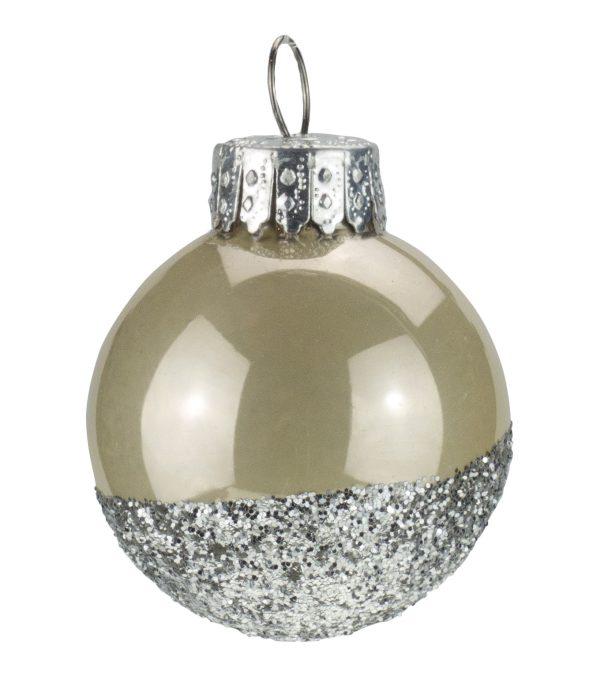 Silver Glitter Baubles - 40mm