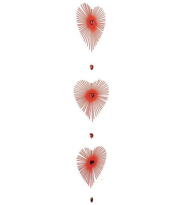 flocked radiating heart garland