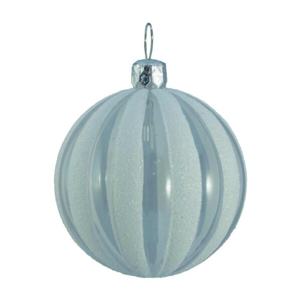 clear ribbed glitter bauble