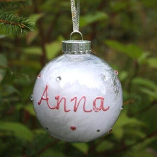 clear bauble with decorated name