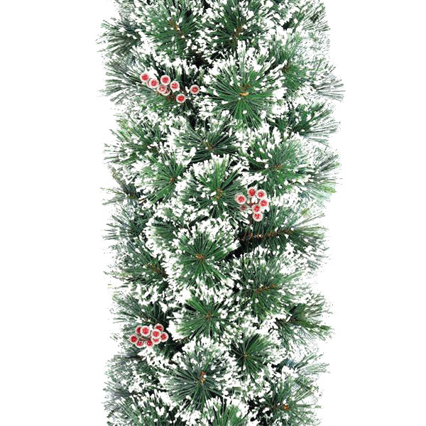 Deluxe Frosted Christmas Garland with Red Berries