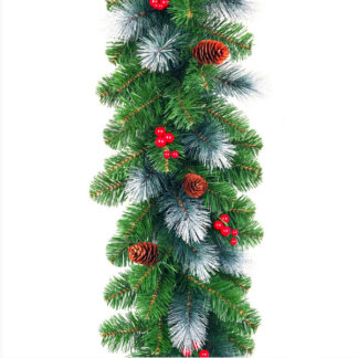 Frosted Christmas Garland with Plain Pine Cones and Berries