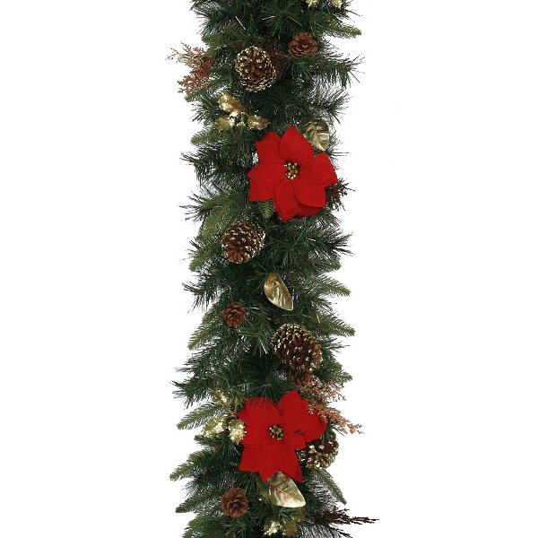 Luxury Christmas Garland with Red Poinsettia