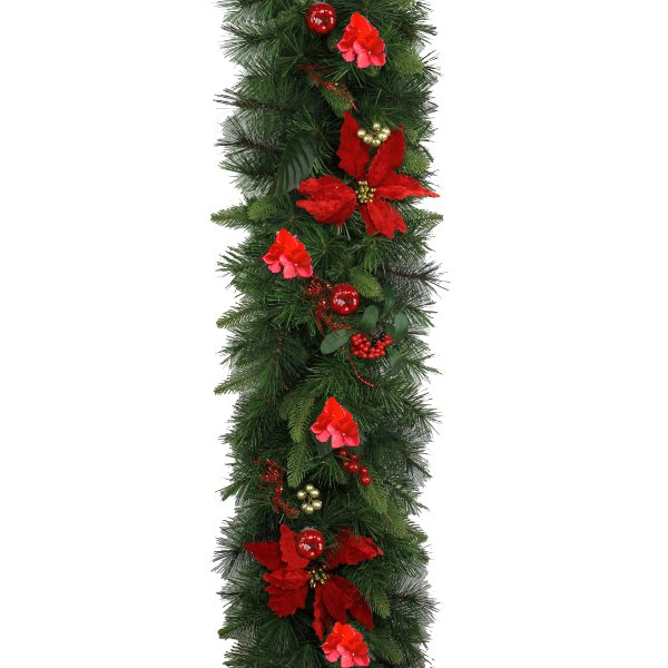 Luxury Christmas Garland with Red Berries, Apples and Flowers