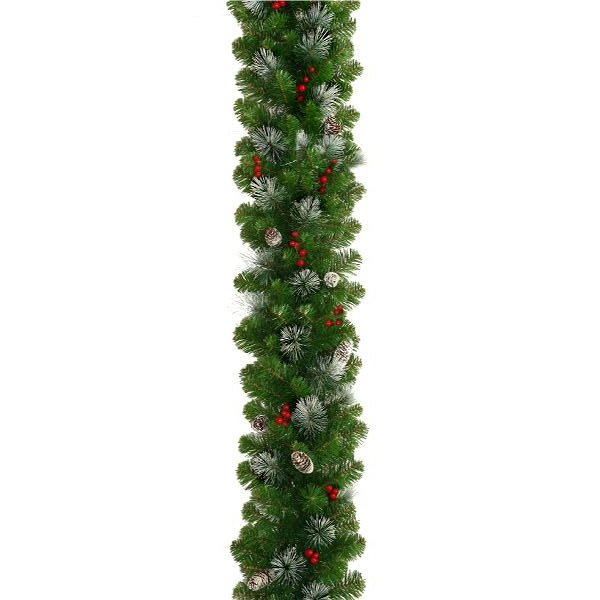 Christmas Garland with Frosted Pine Cones and Berries
