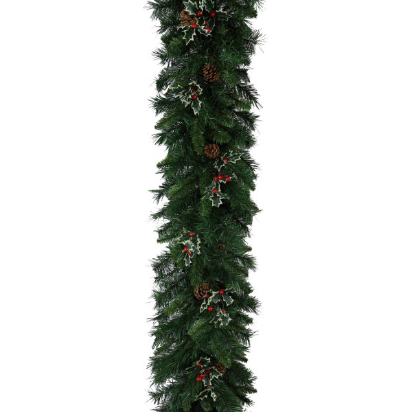 Christmas Garland with Holly and Pine Cones