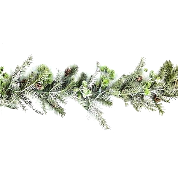 Natural looking light green christmas garland with pine cones