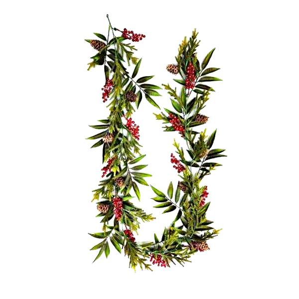 Green and red berry garland