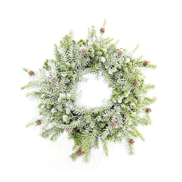 Natural green christmas wreath with small pine cones