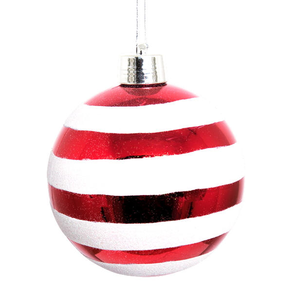 Red Shiny and White Glitter Striped Bauble