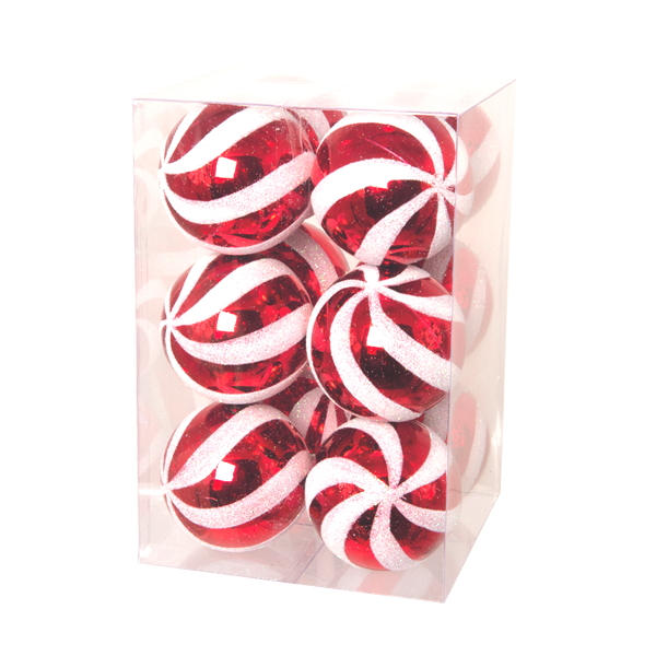 Red Shiny and White Glitter Striped Bauble - Vertical Stripes