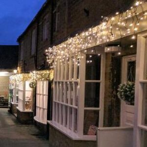 icicle lights on shops