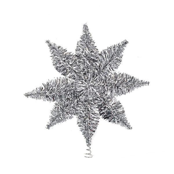 Silver Eco Tinsel Tree Topper - 24cm